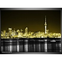 Glas schilderij Nacht | Goud, Zwart, Grijs