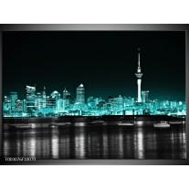 Foto canvas schilderij Nacht | Groen, Zwart, Grijs