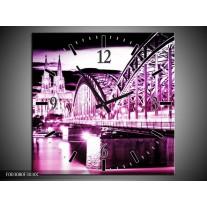 Wandklok op Canvas Brug | Kleur: Paars, Zwart, Wit | F003080C