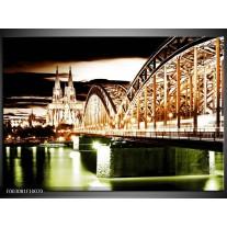 Foto canvas schilderij Brug | Bruin, Groen, Wit