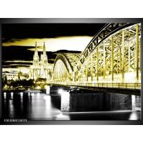 Glas schilderij Brug | Zwart, Goud, Groen