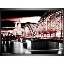 Foto canvas schilderij Brug | Rood, Zwart, Wit