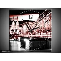 Wandklok op Canvas Brug   Kleur: Rood, Zwart, Wit   F003085C