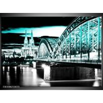 Foto canvas schilderij Brug | Groen, Zwart, Grijs