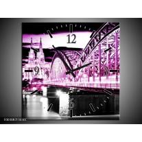 Wandklok op Canvas Brug | Kleur: Paars, Zwart, Grijs | F003087C