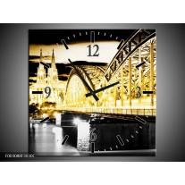 Wandklok op Canvas Brug | Kleur: Geel, Zwart, Grijs | F003088C