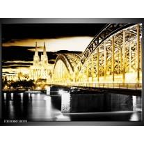 Glas schilderij Brug | Geel, Zwart, Grijs
