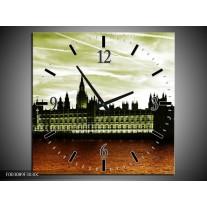Wandklok op Canvas Londen | Kleur: Bruin, Groen | F003089C