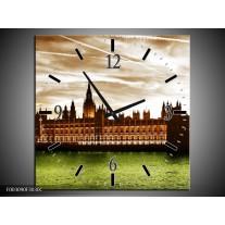 Wandklok op Canvas Londen | Kleur: Groen, Bruin, Wit | F003090C
