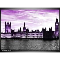 Glas schilderij Londen | Paars, Zwart
