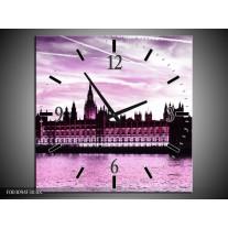 Wandklok op Canvas Londen | Kleur: Paars, Zwart, Wit | F003094C