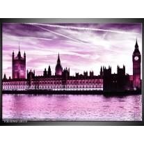 Glas schilderij Londen | Paars, Zwart, Wit