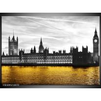 Glas schilderij Londen | Bruin, Zwart, Geel
