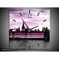 Wandklok op Canvas Londen   Kleur: Paars, Zwart   F003096C