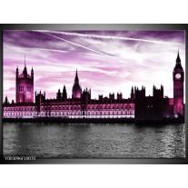 Glas schilderij Londen   Paars, Zwart