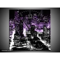 Wandklok op Canvas Nacht | Kleur: Paars, Zwart | F003098C