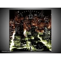 Wandklok op Canvas Nacht | Kleur: Bruin, Groen, Zwart | F003099C
