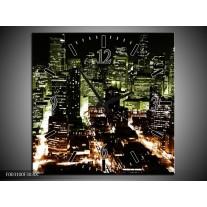 Wandklok op Canvas Nacht | Kleur: Bruin, Groen, Zwart | F003100C