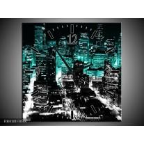 Wandklok op Canvas Nacht | Kleur: Bruin, Groen, Zwart | F003101C