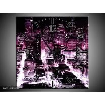 Wandklok op Canvas Nacht | Kleur: Paars, Zwart | F003103C