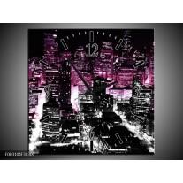 Wandklok op Canvas Nacht | Kleur: Paars, Zwart | F003104C