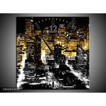 Wandklok op Canvas Nacht | Kleur: Geel, Bruin, Zwart | F003105C