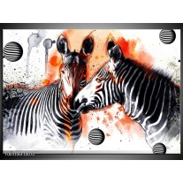 Glas schilderij Zebra | Rood, Zwart, Wit