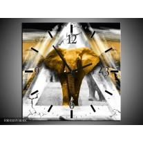 Wandklok op Canvas Olifant | Kleur: Geel, Wit, Grijs | F003107C