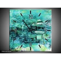 Wandklok op Canvas Natuur | Kleur: Groen, Blauw, Wit | F003110C