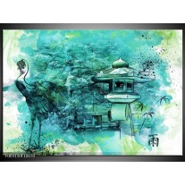 Glas schilderij Natuur | Groen, Blauw, Wit
