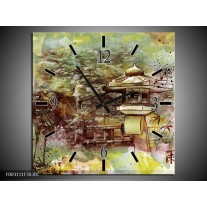 Wandklok op Canvas Natuur | Kleur: Groen, Rood, Geel | F003111C