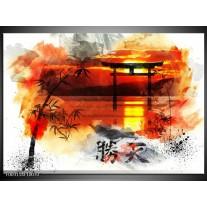 Glas schilderij China | Rood, Zwart, Wit