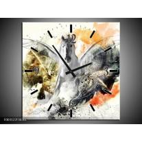Wandklok op Canvas Paard | Kleur: Wit, Oranje, Grijs | F003122C