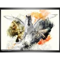 Glas schilderij Paard | Wit, Oranje, Grijs
