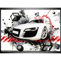 Glas schilderij Audi | Rood, Zwart, Wit