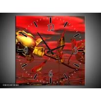 Wandklok op Canvas Roos | Kleur: Rood, Goud, Geel | F003134C