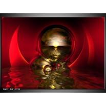 Glas schilderij Abstract | Goud, Rood, Wit