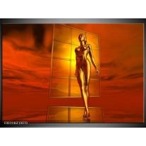 Foto canvas schilderij Abstract | Goud, Rood, Geel