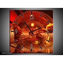 Wandklok op Canvas Roos   Kleur: Zwart, Goud, Rood   F003152C