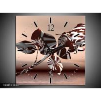 Wandklok op Canvas Roos   Kleur: Bruin, Wit, Grijs   F003153C
