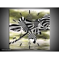 Wandklok op Canvas Roos   Kleur: Zwart, Wit, Groen   F003156C