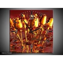 Wandklok op Canvas Roos | Kleur: Goud, Geel, Rood | F003157C