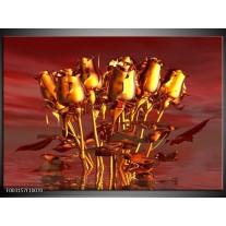 Glas schilderij Roos | Goud, Geel, Rood