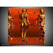 Wandklok op Canvas Abstract | Kleur: Goud, Rood, Geel | F003159C