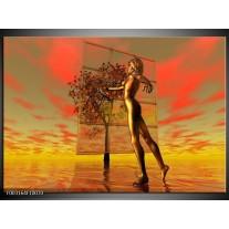 Glas schilderij Abstract | Grijs, Rood, Geel