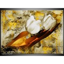 Glas schilderij Tulpen | Wit, Bruin, Geel