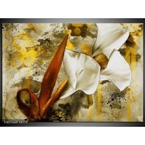 Foto canvas schilderij Bloem | Wit, Bruin, Geel