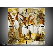 Wandklok op Canvas Bloem | Kleur: Wit, Bruin, Geel | F003172C