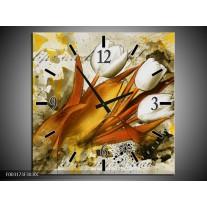Wandklok op Canvas Tulpen   Kleur: Wit, Bruin, Geel   F003173C