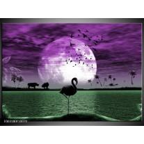 Glas schilderij Natuur | Paars, Groen, Wit